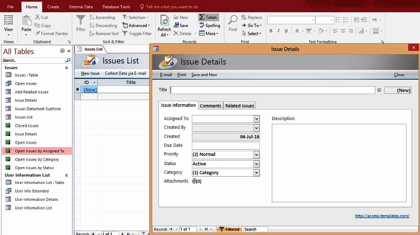 Microsoft Access Report Template New Microsoft Access issues List Tracking Templates Database