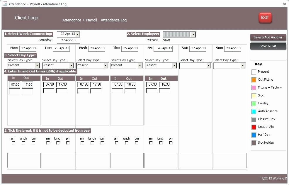 Microsoft Access Timesheet Template Luxury Ms Access 2010 Timesheet Database Template Sample