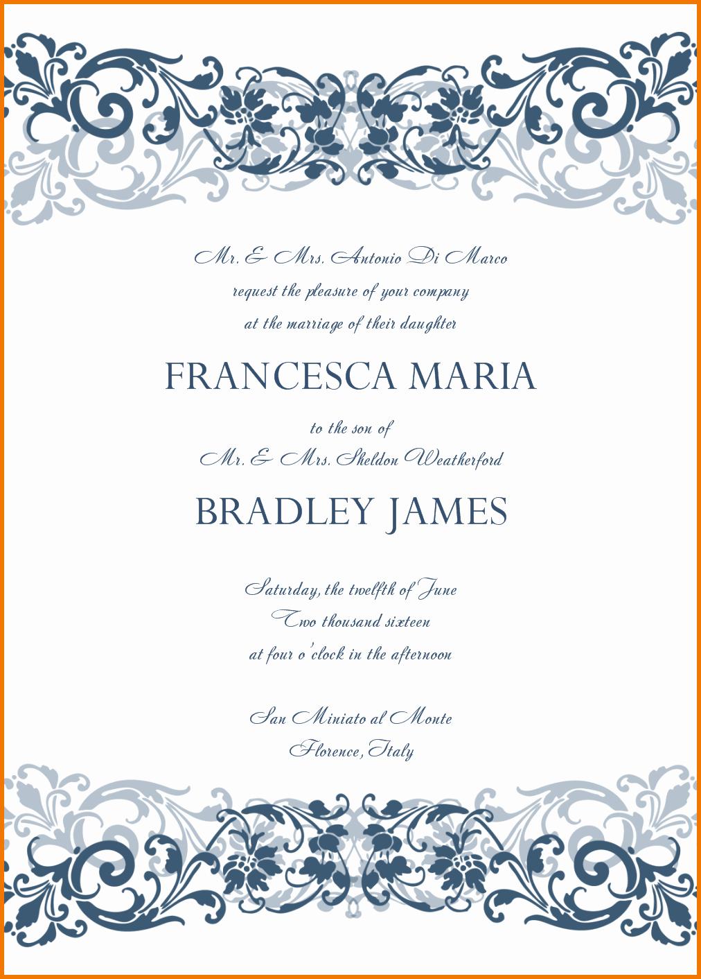 Microsoft Office Wedding Invitation Template Luxury Free Invitation Templates for Microsoft Word