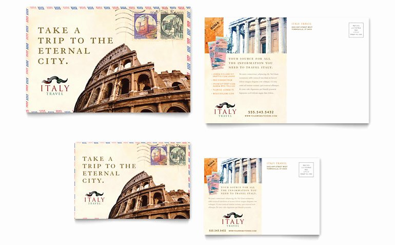 Microsoft Publisher Postcard Template Awesome Italy Travel Postcard Template Word & Publisher