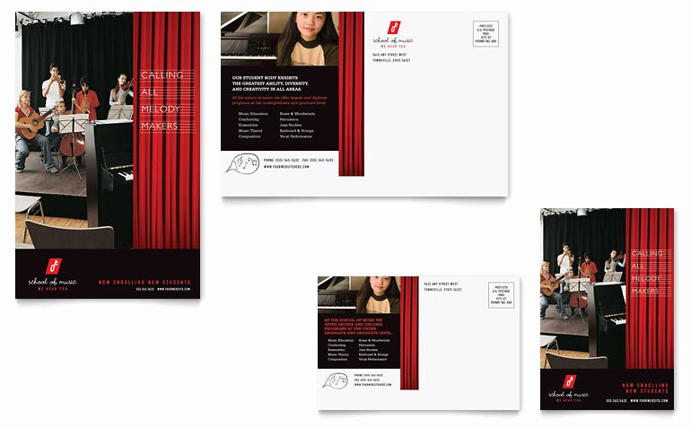 Microsoft Publisher Postcard Template Awesome Music School Postcard Template Word & Publisher