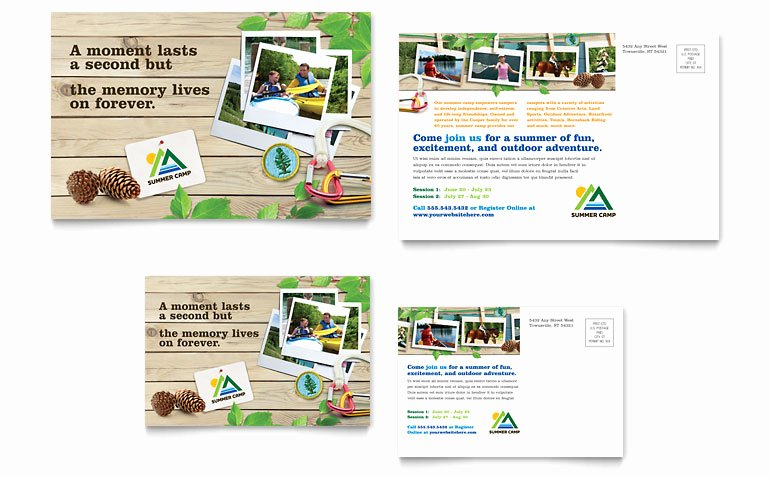 Microsoft Publisher Postcard Template Beautiful Kids Summer Camp Postcard Template Word & Publisher