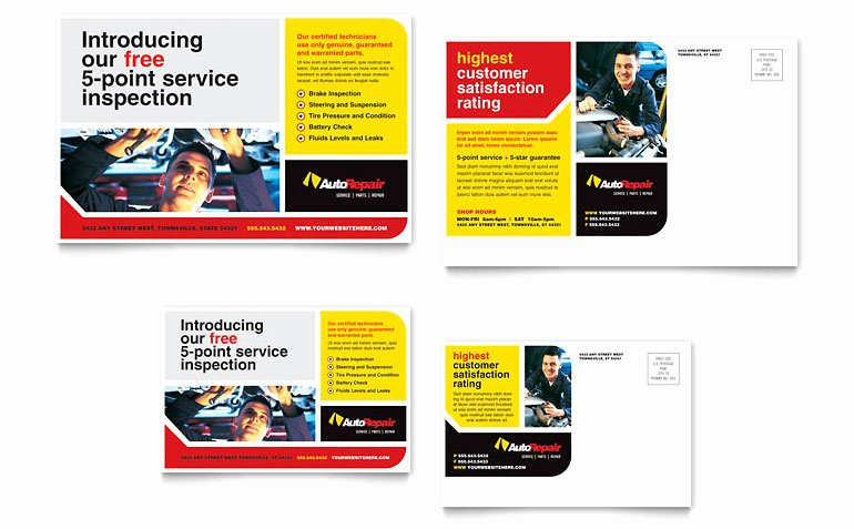 Microsoft Publisher Postcard Template Lovely Auto Repair Postcard Template Word & Publisher