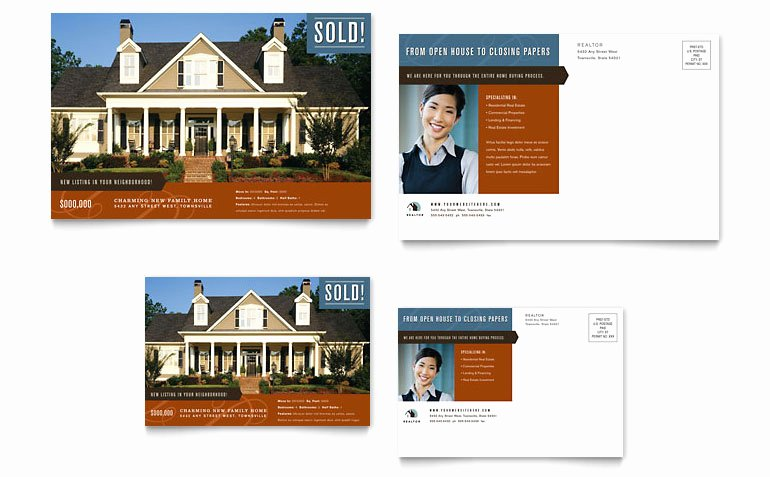 Microsoft Publisher Postcard Template Lovely Residential Realtor Postcard Template Word & Publisher