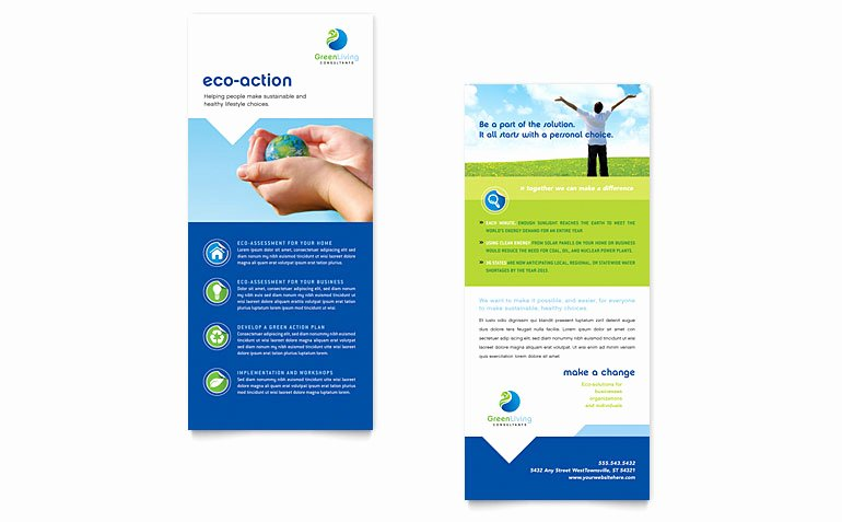 Microsoft Publisher Postcard Template Luxury Green Living & Recycling Rack Card Template Word & Publisher