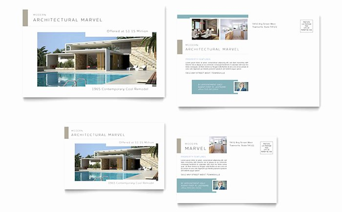Microsoft Publisher Postcard Template Luxury Modern Real Estate Postcard Template Design