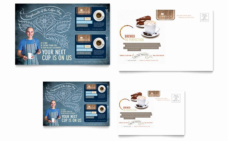 Microsoft Publisher Postcard Template Unique Coffee Shop Postcard Template Word & Publisher