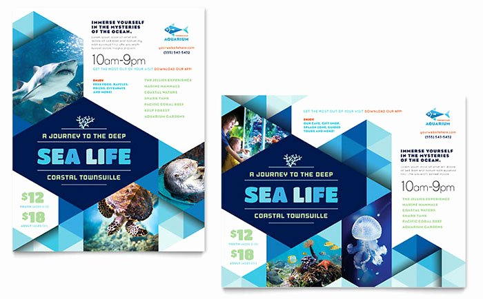 Microsoft Word Banner Template Beautiful Ocean Aquarium Poster Template Word & Publisher