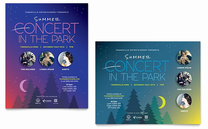 Microsoft Word Banner Template Luxury Summer Concert Poster Template Word & Publisher