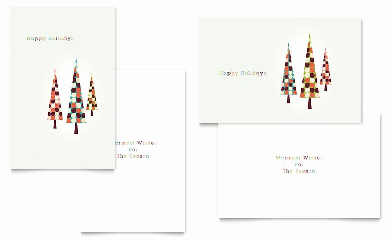 Microsoft Word Birthday Card Template Beautiful Modern Holiday Trees Greeting Card Template Word & Publisher