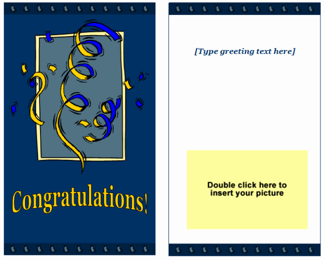 Microsoft Word Birthday Card Template Elegant Congratulations Greeting Card Template Easy Printable