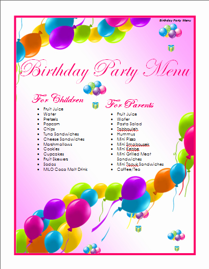 Microsoft Word Birthday Card Template Lovely Birthday Menu Template Microsoft Word Templates