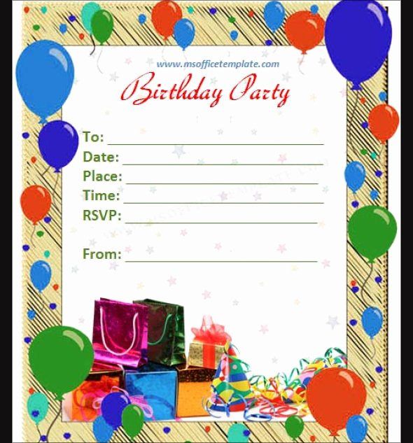Microsoft Word Birthday Invitation Template Luxury 50 Printable Birthday Invitation Templates