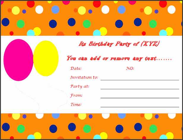 Microsoft Word Birthday Invitation Template New 10 Ms Word Birthday Party Invitation Template