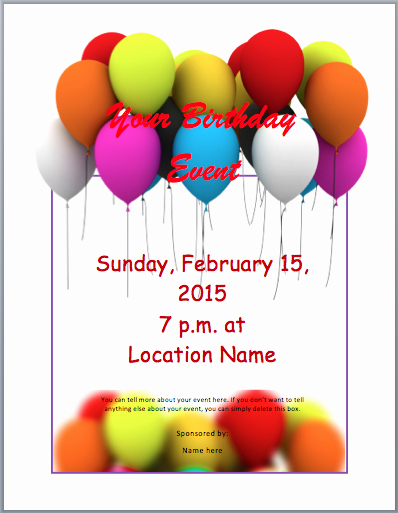 Microsoft Word Birthday Invitation Template Unique Birthday Party Invitation Flyer Template 3 Printable