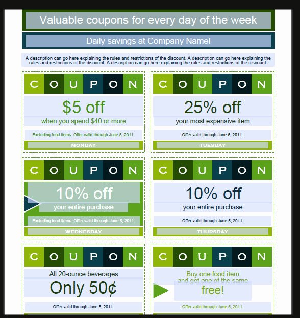 Microsoft Word Coupon Template Beautiful 40 Printable Coupon Design Templates Psd Ai Word
