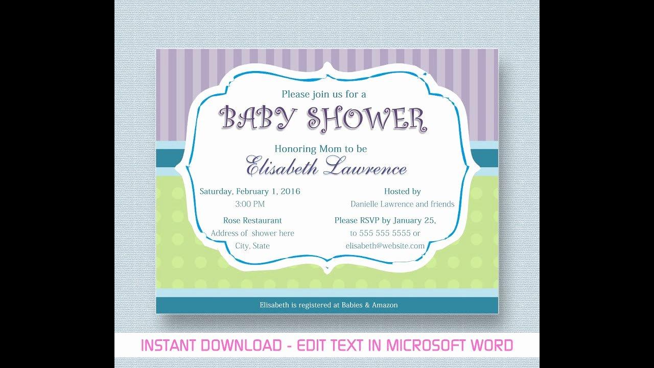 Microsoft Word Invitation Template Elegant Baby Shower Invitation for Microsoft Word