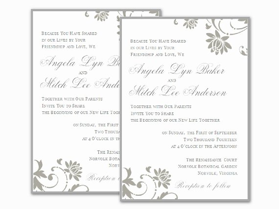 Microsoft Word Invitation Template Lovely Free Wedding Invitation Templates for Word