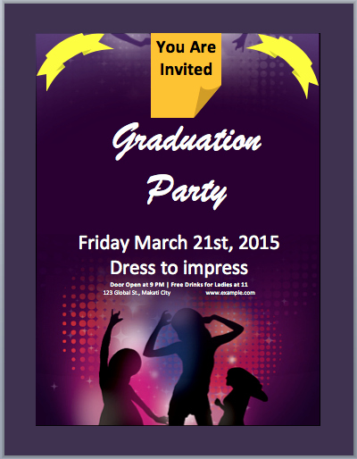 Microsoft Word Invitation Template Lovely Graduation Party Invitation Flyer Template – Microsoft