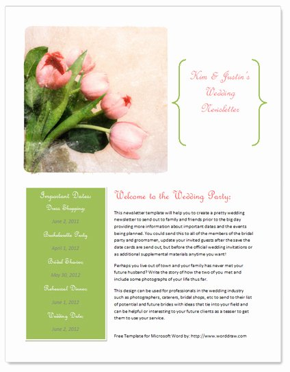 Microsoft Word Newsletter Template Free Awesome Worddraw Free Wedding Newsletter Template for