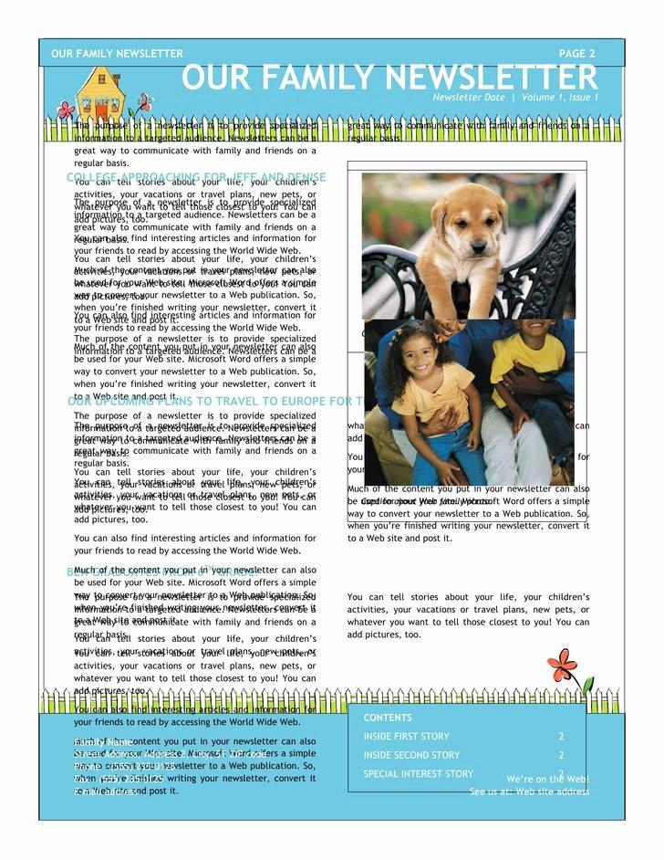 Microsoft Word Newsletter Template Free Best Of 10 Family Newsletter Template Free Download