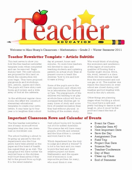 Microsoft Word Newsletter Template Free Elegant 15 Free Microsoft Word Newsletter Templates for Teachers