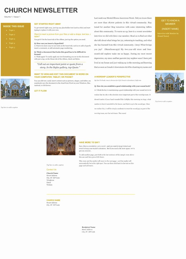 Microsoft Word Newsletter Template Free Elegant Free Church Newsletter Templates Editable In Microsoft Word