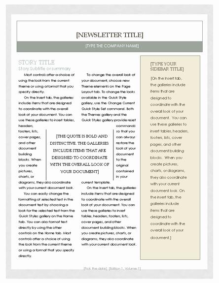 Microsoft Word Newsletter Template Free Lovely Free Newsletter Template – Microsoft Word Newsletter