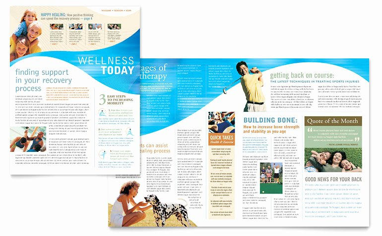 Microsoft Word Newsletter Template Free New Physical therapist Newsletter Template Word & Publisher