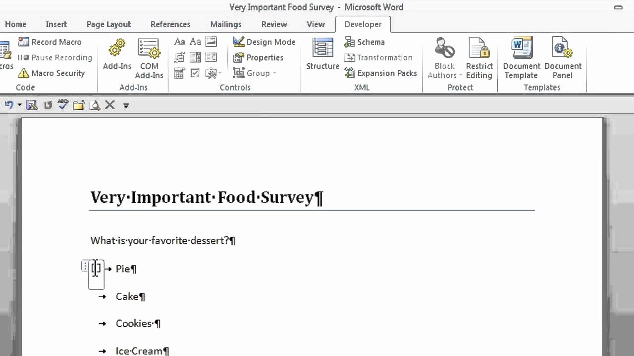 Microsoft Word Questionnaire Template Awesome How to Create A Survey with Radio buttons In Microsoft
