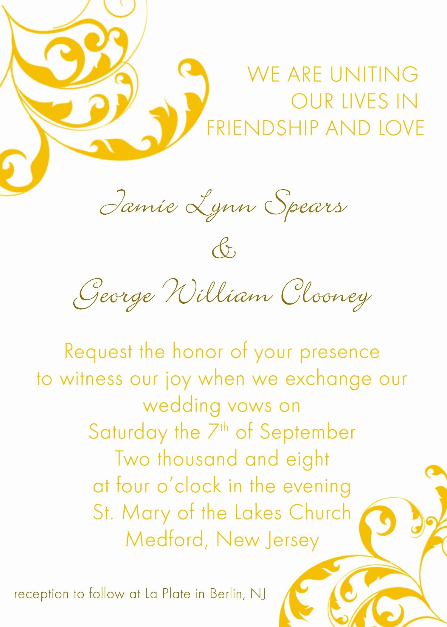 Microsoft Word Wedding Invitation Template Awesome Invitation Word Templates Free Wedding Invitation