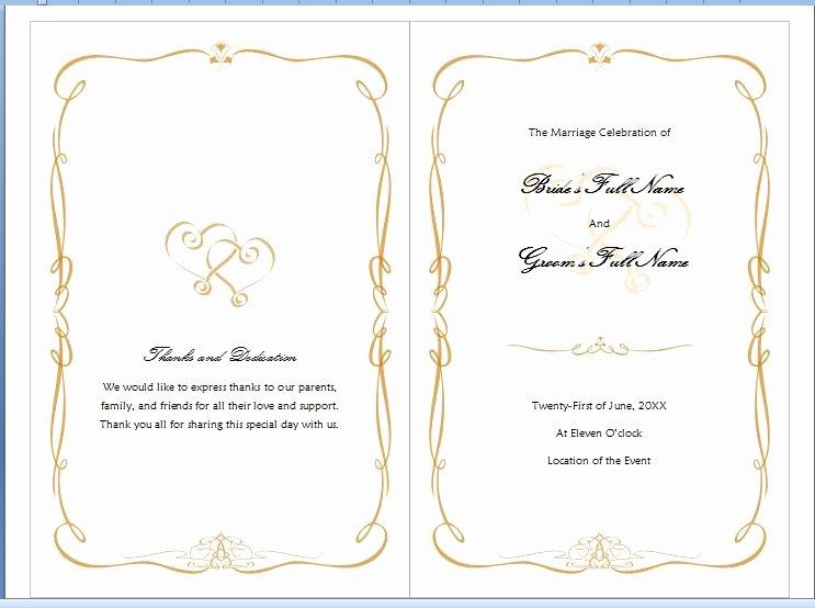 Microsoft Word Wedding Invitation Template Elegant Free Wedding Program Templates