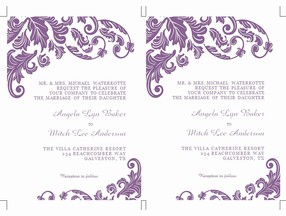 Microsoft Word Wedding Invitation Template Inspirational Items Similar to Printable Ms Word Wedding Invitation
