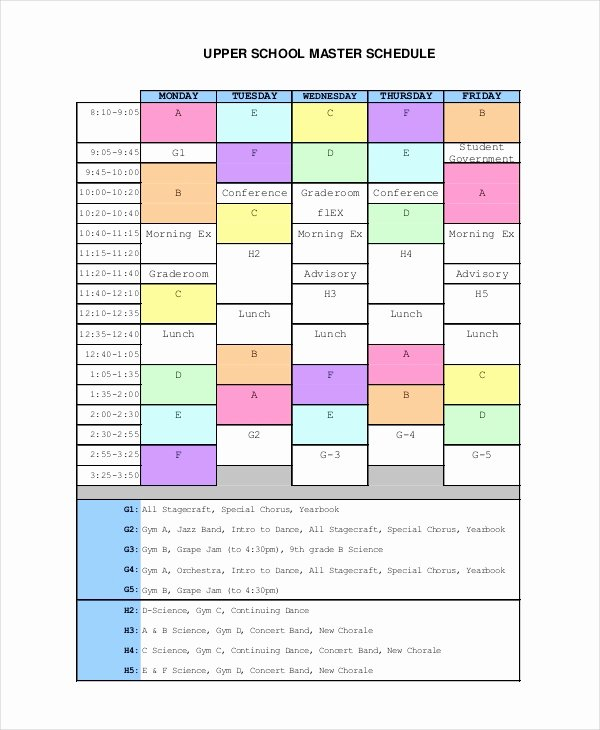 Middle School Schedule Template Awesome Master Schedule Template 11 Free Word Pdf Documents