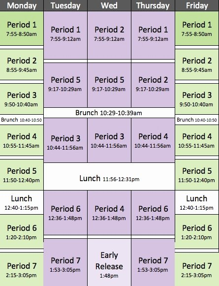 Middle School Schedule Template Best Of Middle School Block Schedules