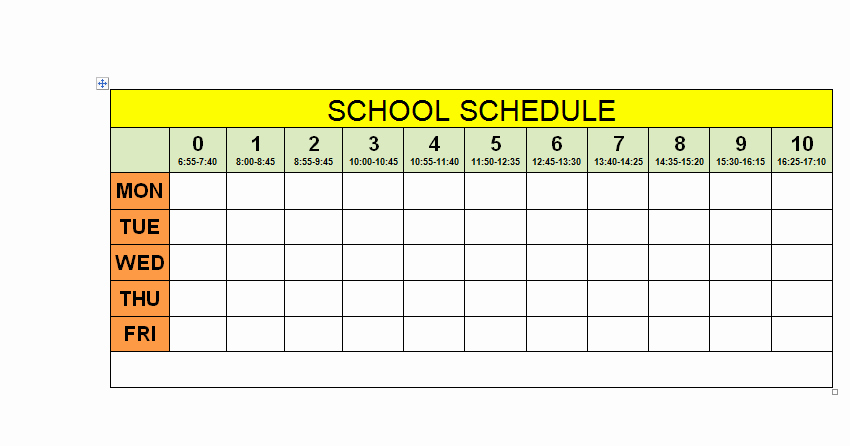 Middle School Schedule Template Best Of Schedule for School Printable Template School Schedule 2