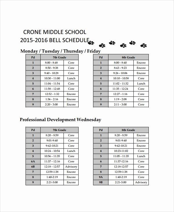 Middle School Schedule Template Elegant 10 School Schedule Templates