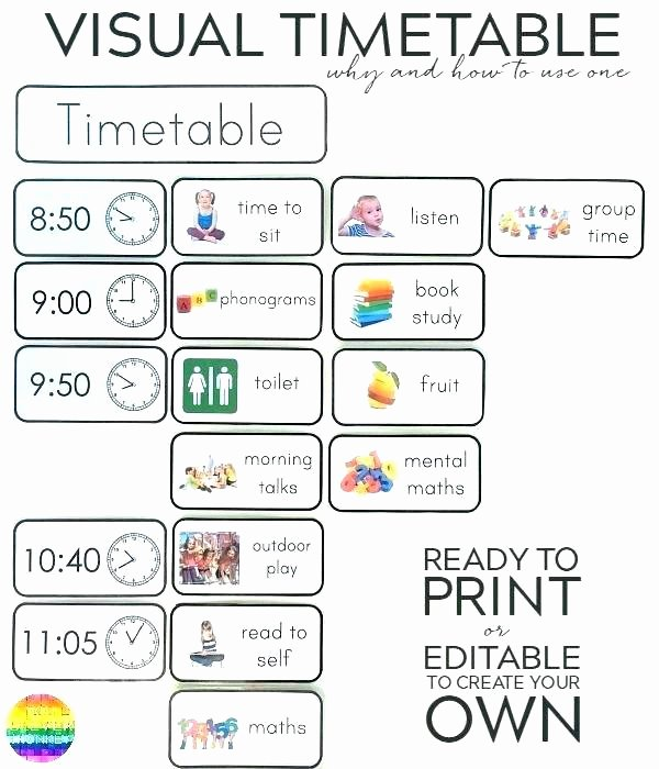 Middle School Schedule Template Elegant Block Schedule Template Printable Work Time Blocking Excel