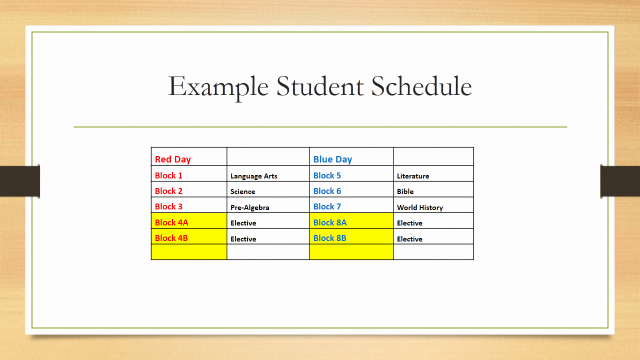 Middle School Schedule Template Inspirational Block Scheduling for 2014 2015