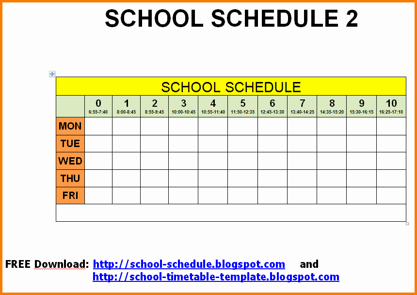 Middle School Schedule Template Luxury School Schedule Template