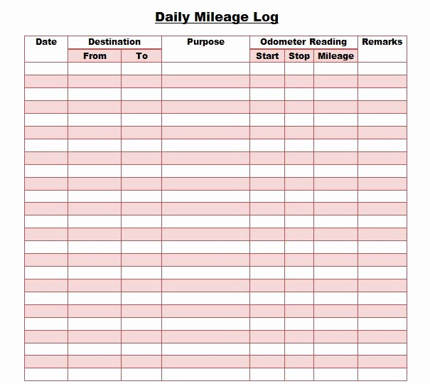 Mileage Log for Taxes Template Awesome 30 Printable Mileage Log Templates Free Template Lab