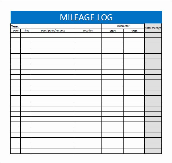 Mileage Log for Taxes Template Luxury 13 Sample Mileage Log Templates to Download