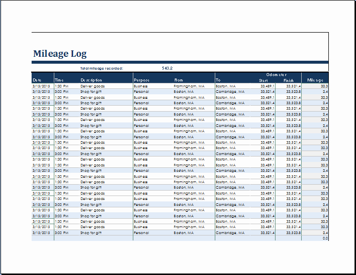 Mileage Log for Taxes Template New Ms Excel Vehicle Mileage Log Template