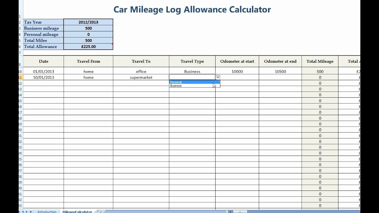 Mileage Log Template for Taxes Awesome Car Mileage Allowance Expense Calculator for Self Employed