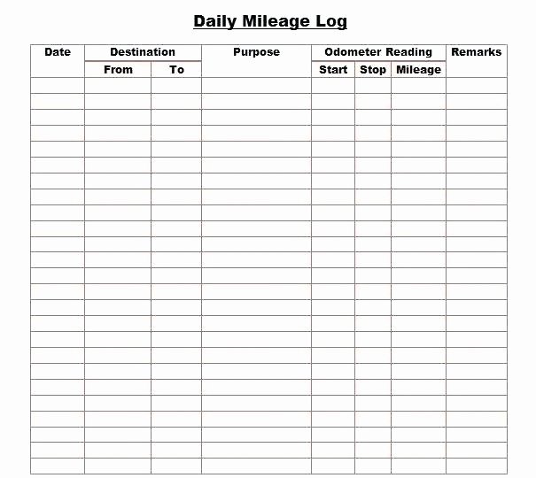 Mileage Log Template for Taxes Fresh Free Mileage Log Template Best Vehicle Expense then