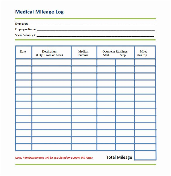 Mileage Log Template for Taxes Lovely 13 Sample Mileage Log Templates to Download