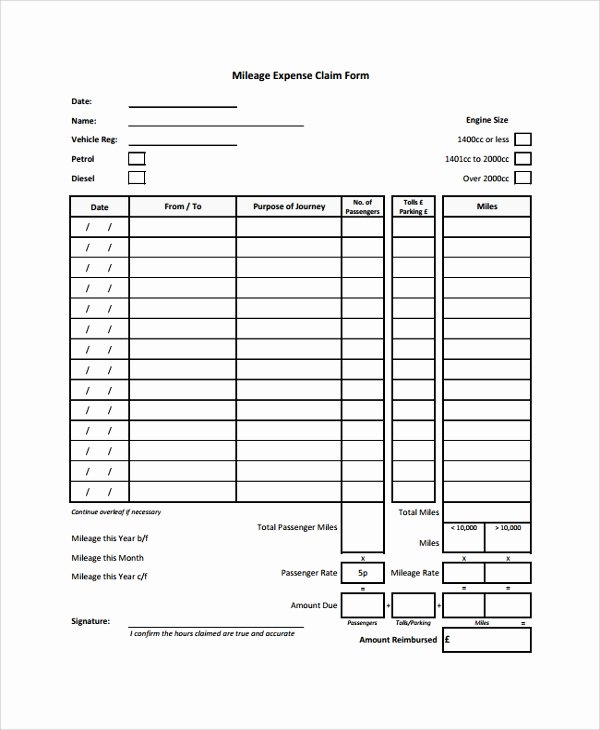 Mileage Reimbursement form Template Awesome 8 Sample Expense forms