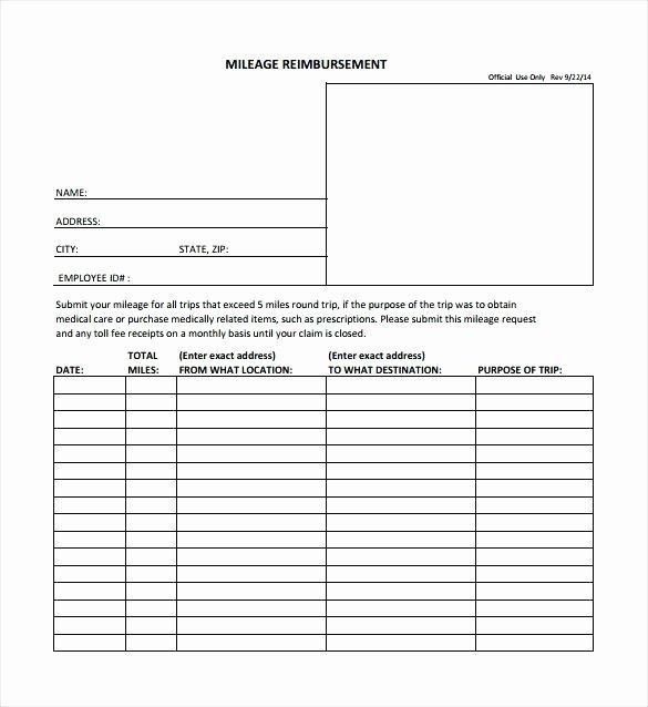 Mileage Reimbursement form Template Awesome Reimbursement form Templates Mileage Expense Template Fr