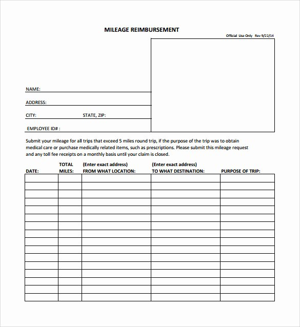 Mileage Reimbursement form Template Awesome Sample Mileage Reimbursement form 8 Download Free