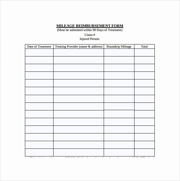 Mileage Reimbursement form Template Elegant Sample Mileage Reimbursement form 8 Download Free